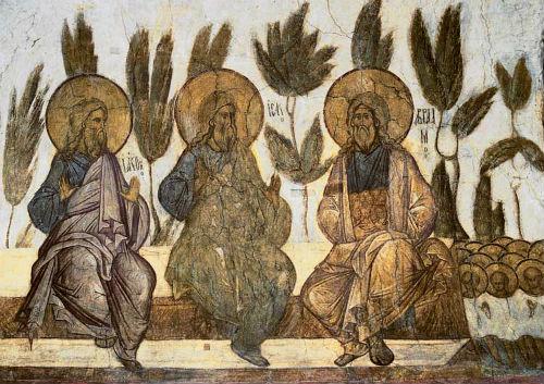 Праотцы Авраам, Исаак и Иаков в раю (Лоно Авраамово). Фреска Успенского собора во Владимире, 1408 г.