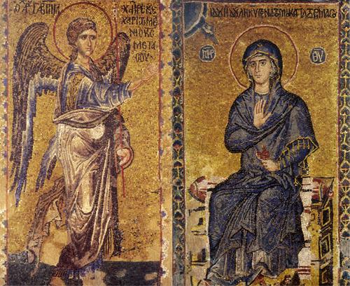 Благовещение. Мозаика собора монастыря Ватопед на Афоне. XIV век.